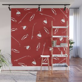 Vintage fishing pattern in red and white, perfect for the camper or lake Wall Mural