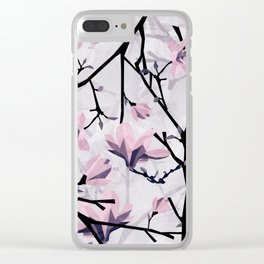 Magnolia Pattern Clear iPhone Case