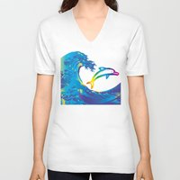 hokusai V-neck T-shirts featuring Hokusai Rainbow & dolphin_C by FACTORIE