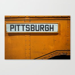 Pittsburgh Sign Of Trolleys Canvas Print