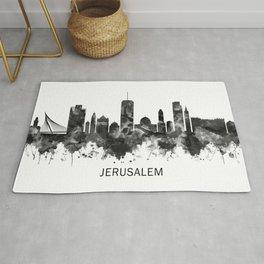 Jerusalem Israel Skyline BW Rug
