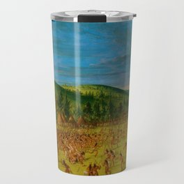 Classical Masterpiece 'Ball play of the Choctaw' by George Catlin Travel Mug