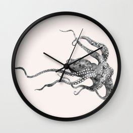 Octopus in pink Wall Clock