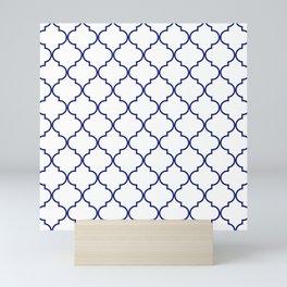 quatrefoil - navy Mini Art Print