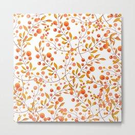 Hand painted orange gold fall berries floral Metal Print