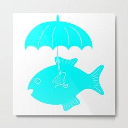 Fish with umbrella Metal Print