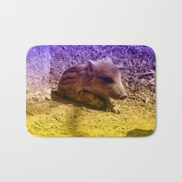 Adorable Baby Boar, blue Bath Mat