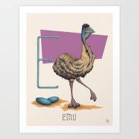 E is for Emu Art Print