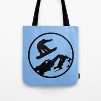 snowboarding Tote Bags featuring snowboarding 3 by Paul Simms