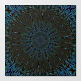 Teal and Brown Feather Abstract Canvas Print