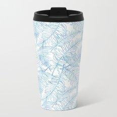 Fern Silhouette Blue Metal Travel Mug