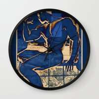 muscle Wall Clocks featuring Muscle. by Azure Cricket