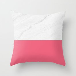 Marble And Pink Throw Pillow