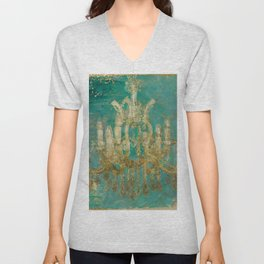 Gold and Peacock Chandelier Unisex V-Neck