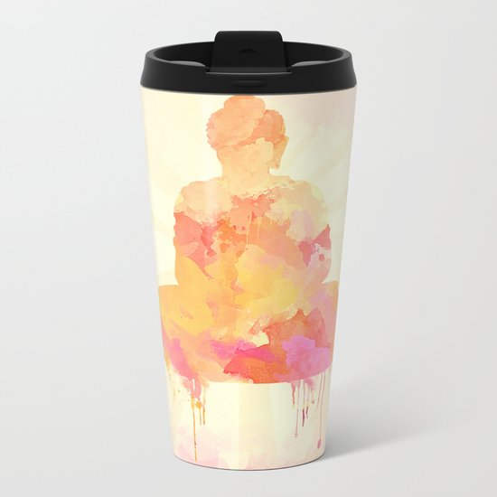 Buddha art illustration watercolor Metal Travel Mug
