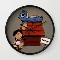 lilo and stitch Wall Clocks featuring Lilo & Stitch by le.duc