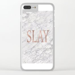 Slay rose gold marble Clear iPhone Case