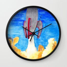Off to That Last Hot Dog Stand in the Sky Wall Clock