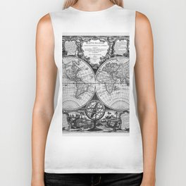 Vintage Old Map Design Biker Tank