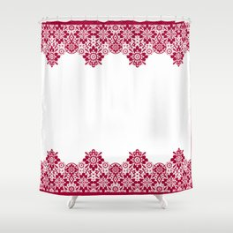 Retro .Vintage . Red lace on a white background . Shower Curtain