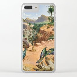 Jurassic dinosaurs fighting Clear iPhone Case