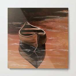 Canoe at Sunset Metal Print