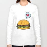 hamburger Long Sleeve T-shirts featuring Hamburger Doodle by Andrea Tobar