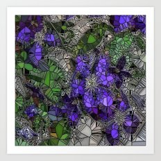 VIOLETS IN STAINED GLASS Art Print
