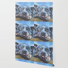 Australian Cattle Dog portrait by L.A.Shepard fine art painting blue heeler Wallpaper