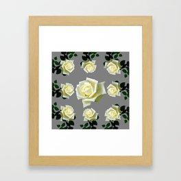 WHITE ROSES GARDEN DESIGN Framed Art Print