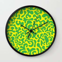 Social Networking Green and Yellow Wall Clock