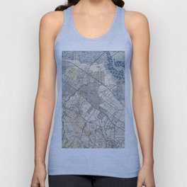 Old Map of Palo Alto & Silicon Valley CA (1943) Unisex Tank Top