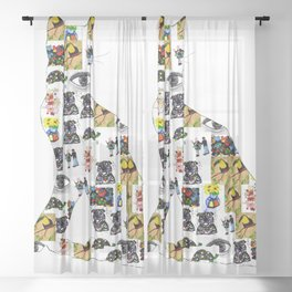 The Meow In A Collage Sheer Curtain