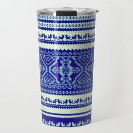 nordic pattern with singing birds in blue Travel Mug