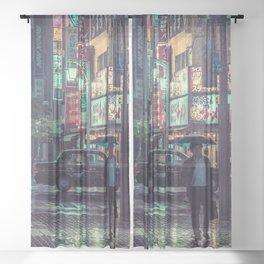The Smiling Man // Rainy Tokyo Nights Sheer Curtain