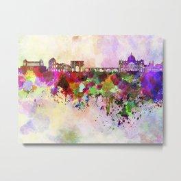 Rome skyline in watercolor background Metal Print