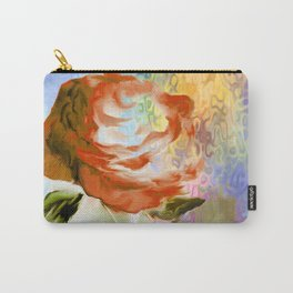 Red Rose With Psychedelic Background By Annie Zeno Carry-All Pouch