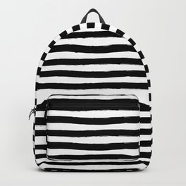 Black And White Hand Drawn Horizontal Stripes Backpack