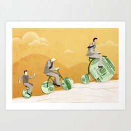 Three businessmen riding money bikes Art Print