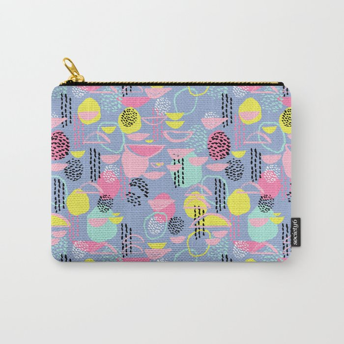 Abstract pattern nursery minimal pattern pink mint pastels and white abstract pattern design Carry-All Pouch