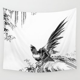 Vintage Magpie black & white Wall Tapestry