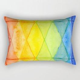 Geometrict Abstract Rainbow Watercolor Pattern Rectangular Pillow