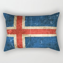 Vintage Aged and Scratched Icelandic Flag Rectangular Pillow