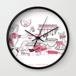 Baking Day Fun With Mister Kitty Wall Clock