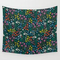 botanical Wall Tapestries featuring Botanical Garden  by Anna Deegan