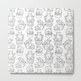 Cacti Cat pattern (black and white) Metal Print