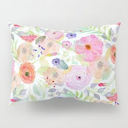 Pretty watercolor hand paint abstract floral Pillow Sham