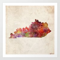 kentucky Art Prints featuring Kentucky map by MapMapMaps.Watercolors