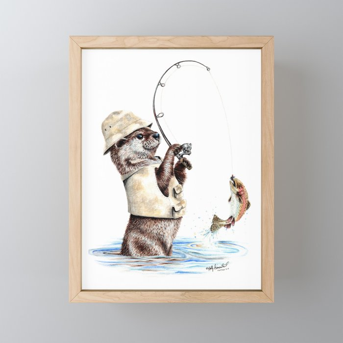 """ Natures Fisherman "" fishing river otter with trout Framed Mini Art Print"