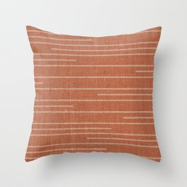 Geometric Art, Colorful Stripes Mudcloth, Terracotta Throw Pillow